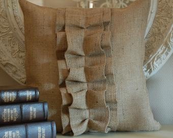 Burlap Ruffle pillow cover