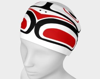 Northwest Eagle Totem Art Buff Gaiter Face Cover Headband  White Background