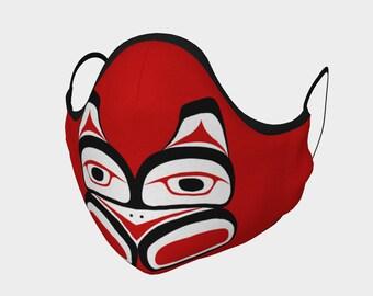 Eagle Totem Pacific Northwest Formline Face Mask Red Background Teal Inside