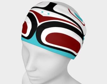 Northwest Eagle Totem Art Buff Gaiter Face Cover Headband Teal Background