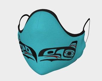 Teal Inside Northwest Art Tlingit Eagle Raven Facemask Teal on Pocket Filter