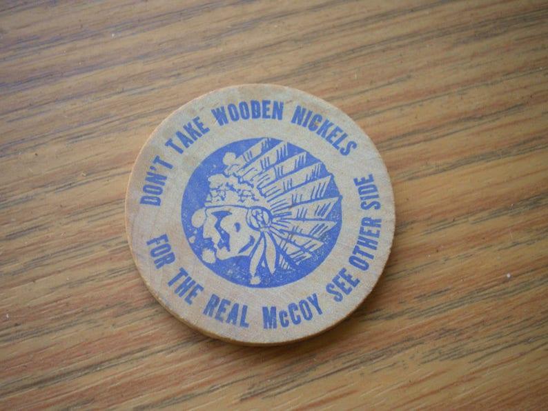 Vintage Mystic Iowa Wooden Nickel Usa Bicentennial Token 1776 1976 Souvenir