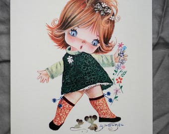 Adorable 1960's Art Print Big Eyed Girl with Flowers and Mice by Fallarda Printed in Spain