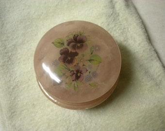 Vintage Alabaster Trinket Box Hinged Lid with Purple Pansies