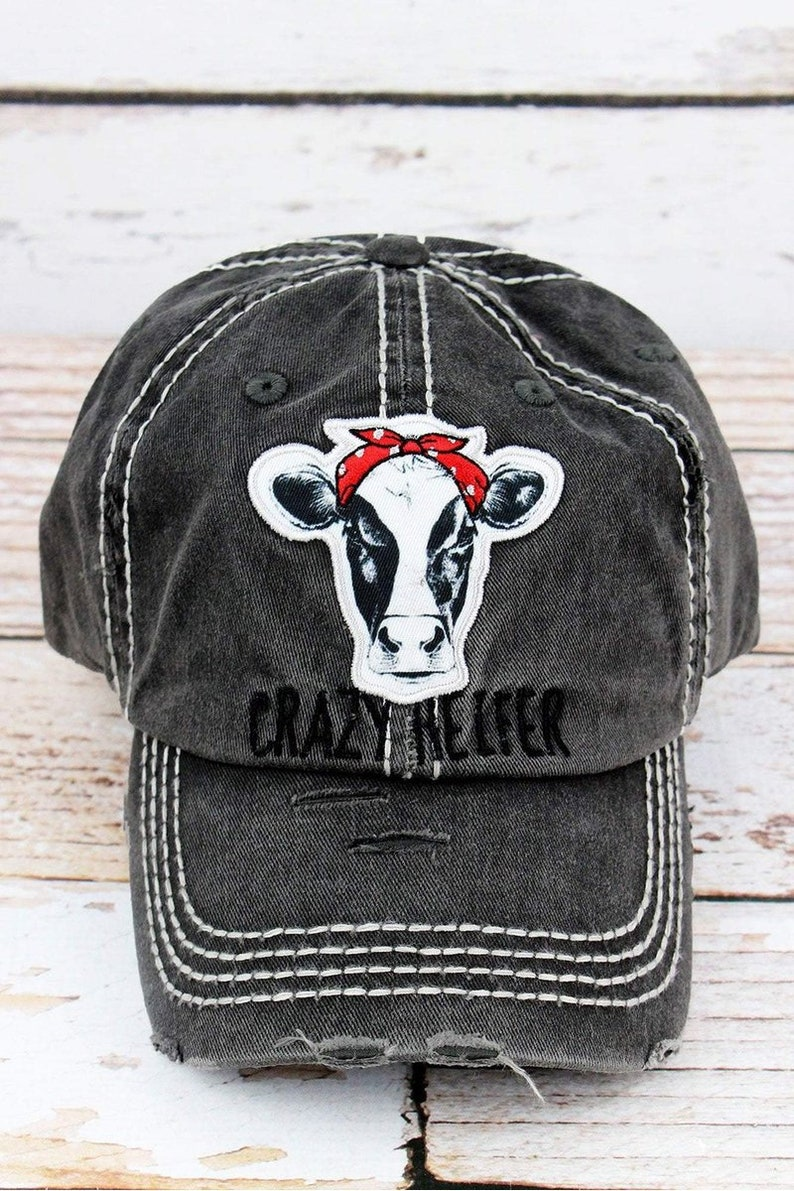 199a570270d361 Distressed Black 'Crazy Heifer' Cap Hat | Etsy