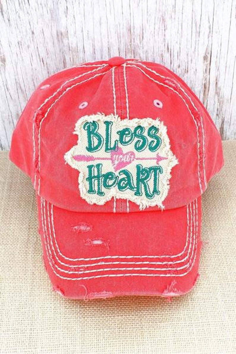 121a197456717 Distressed Salmon  Bless Your Heart  Cap Hat