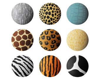 Hand Painted Knob - Children's Custom Hand Painted Jungle Style Animal Print and Reptile Skin Drawer Knobs Pulls or Nail Covers for Kids