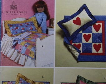 "Butterick 4538 18/"" Girl Doll Pattern Bed Quilt Pillow Mattress Sheets"