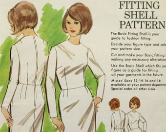 Bust 32 12 Vintage 1960/'s Personal Fitting Pattern Butterick 3000 Sewing Pattern Sheath Dress with Long Sleeves and Jewel Neckline