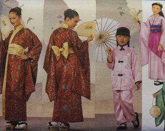 4 5 6 7 8 19 12 14 Obi Uncut Wrap Size XS S M L Top ChildGirls/' Oriental Robe Butterick 6697 Pants and Hat Sewing Pattern