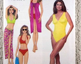 01fd82c2eb Butterick 6578, Misses' Top, Bikini Briefs, Bathing Suit and Pareo Sewing  Pattern. Easy Beachwear Pattern, Misses' Size 6 - 10, Uncut