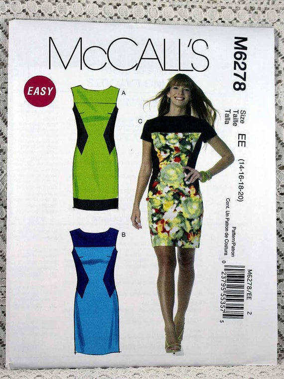 McCall/'s 6278 Misses/' Lined Dresses  14 to 20    Sewing Pattern