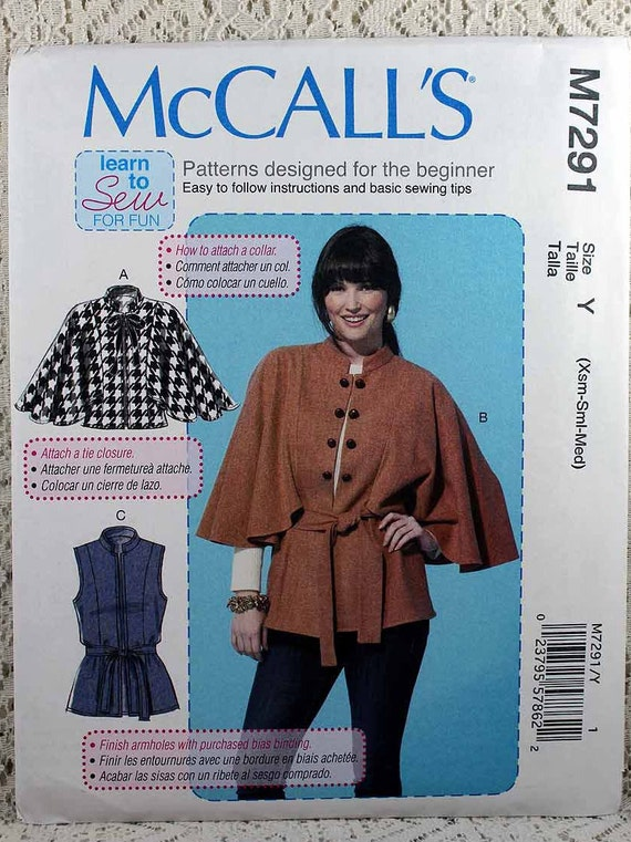 McCall 7291 Misses Capes Weste und Gürtel Schnittmuster | Etsy