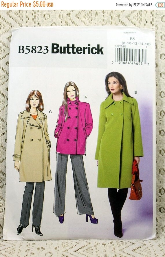 ON SALE Butterick 5823 Misses\' Jacket and Coat Sewing | Etsy