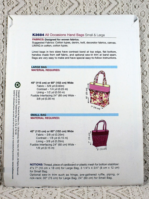 Kwik Sew 3684 Handbags Sewing Pattern All Occasions Hand Etsy