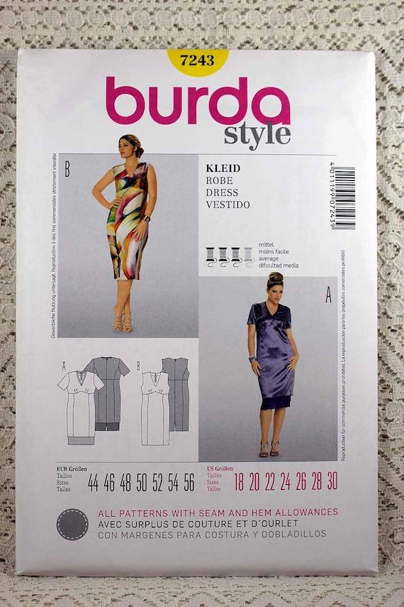 Burda 7243 Damen Kleid Schnittmuster Damen Muster Plus | Etsy
