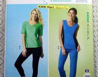 Kwik Sew 4044, Misses' Tops, Leggings and Pants Sewing Pattern, Exercise Outfit Sewing Pattern, Misses' Size XS, S, M, L, Xl, Uncut