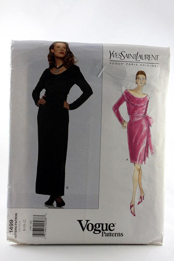 Vogue 1499 Misses Kleid und Schärpe Schnittmuster Yves Saint | Etsy