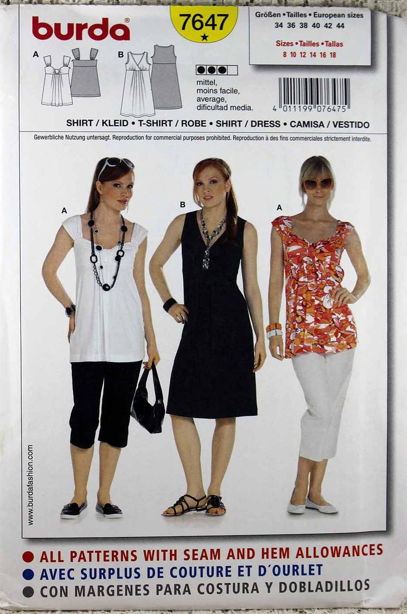 58f81f7cb3d8 Burda 7647 Misses' Shirt and Dress Sewing Pattern | Etsy