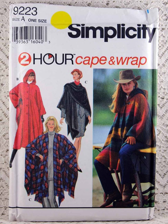 Simplicity 9223, Misses\' Cape and Wrap Sewing Pattern, Easy Cape ...