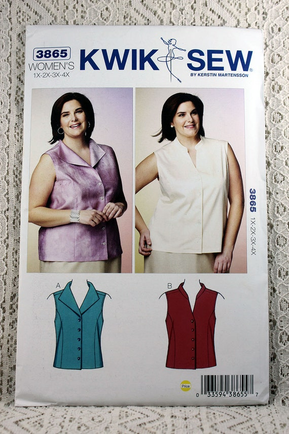 Kwik Sew 3865, Women\'s Blouses Sewing Pattern, Sleeveless Blouse ...