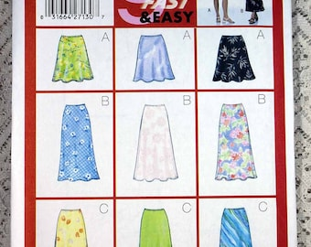 Butterick 5431, Misses' Skirt Sewing Pattern, Very Easy Skirt Sewing Pattern, Misses' Patterns, Misses' Size 12, 14, 16, Uncut