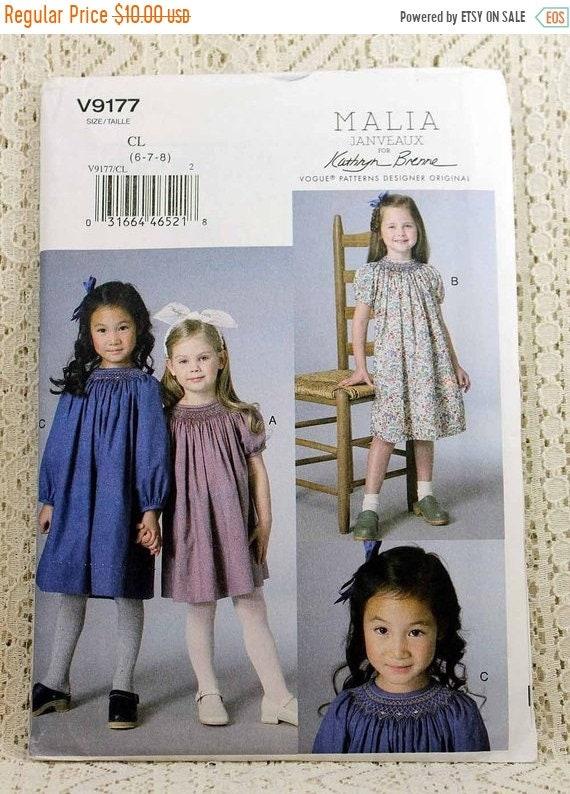 ON SALE Vogue 9177 Girls\' Dress Sewing Pattern Malia | Etsy