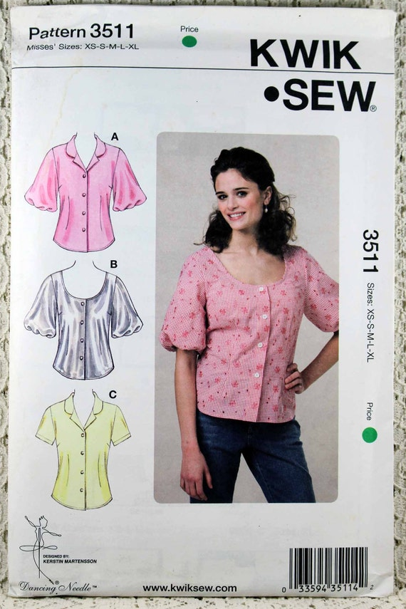 a42a5957f7e22 Kwik Sew 3511 Misses  Blouses Sewing Pattern Misses