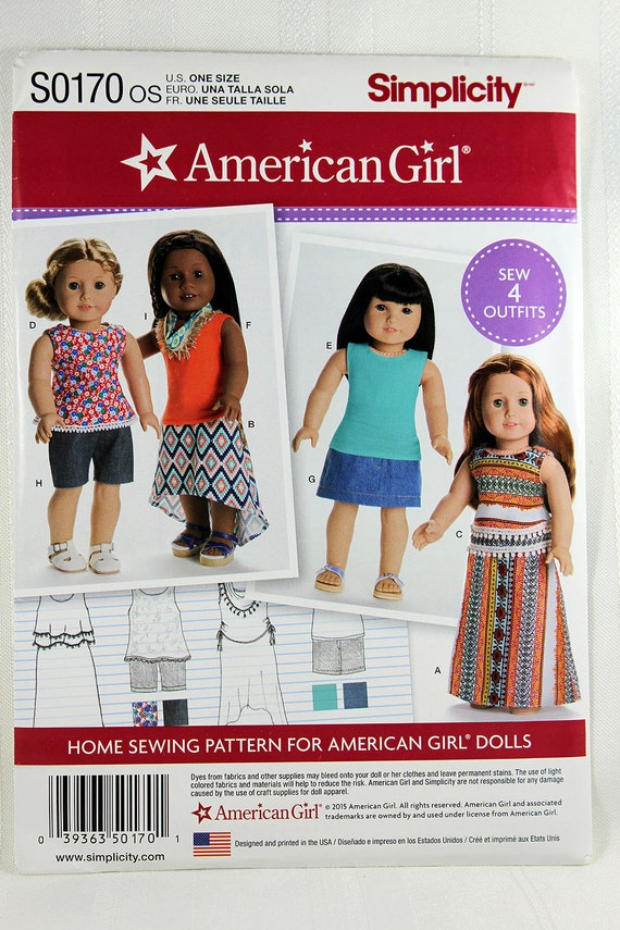 Simplicity S0170, American Girl Doll Clothes Sewing Pattern, 18 ...