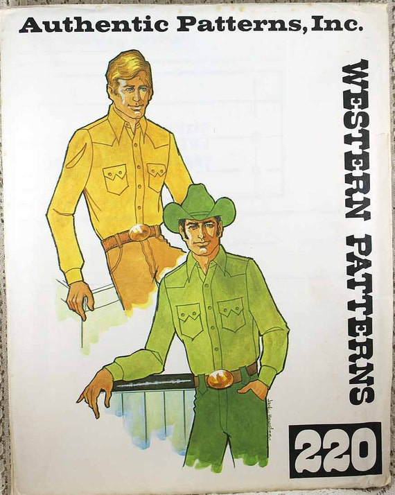 Authentic Patterns 220 Mens Western Style Shirt Sewing Etsy
