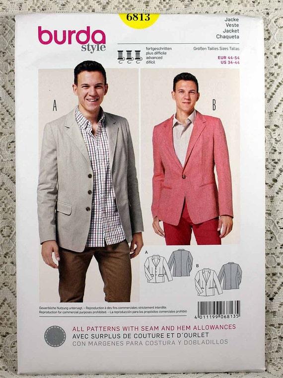 Burda 6813 Men\'s Jacket Sewing Pattern Men\'s   Etsy
