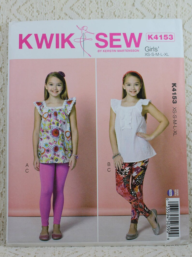 5783d9e62a7 Kwik Sew 4153 Girls  Tops and Leggings Sewing Pattern