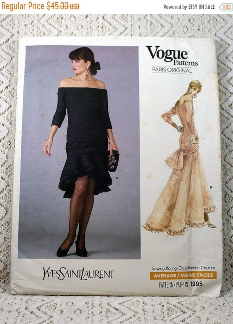 0b1fcd782d8 JULY SALE Vogue 1995 Misses' Dress Sewing Pattern Yves | Etsy