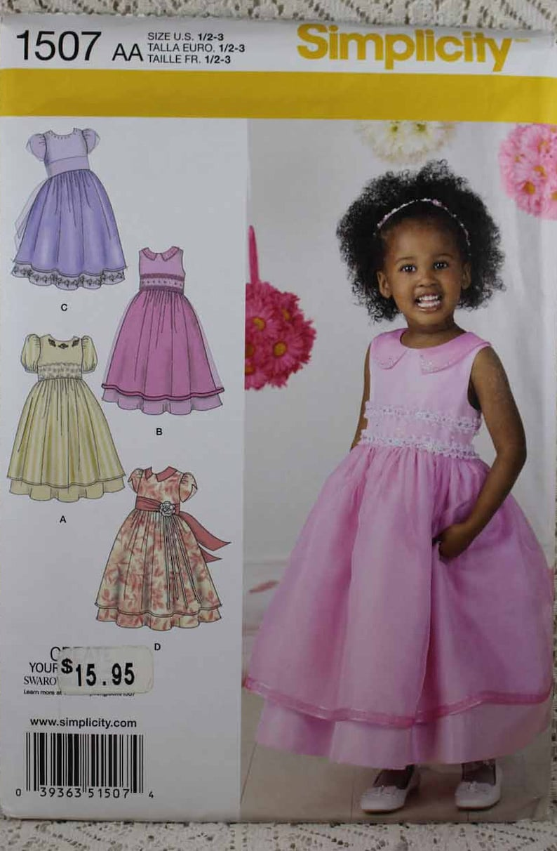 8df376537d6 Simplicity 1507, Child's Dress Sewing Pattern, Childs Special Occasion  Dress Pattern, Toddlers' Size 1/2 - 3, Pattern is new and Uncut