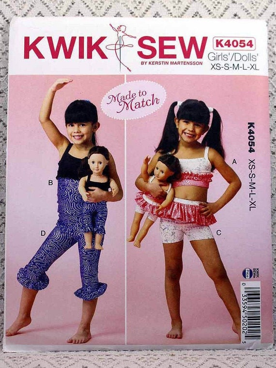 "Kwik Sew 4054 Girls Tops Shorts Leggings 18/"" Doll Sewing Pattern Sz 4-14 XS-XL"