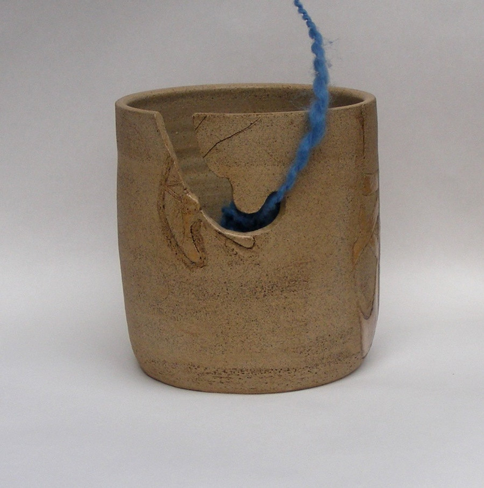 stoneware yarn bowl with etched ballet dancer