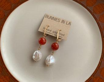 Pearl & Red Agate Drop Earrings