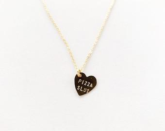 Pizza Slut Heart Charm Necklace Gold