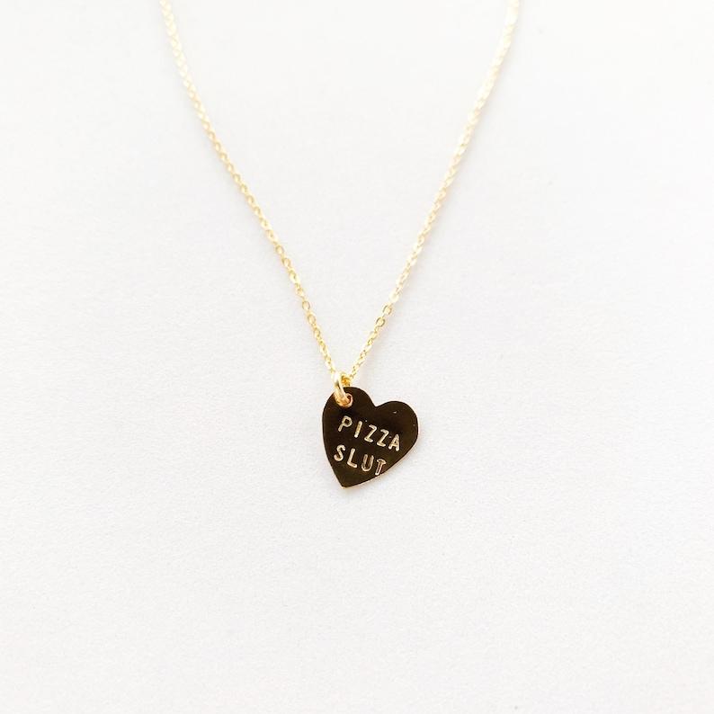 Pizza Slut Heart Charm Necklace Gold image 0