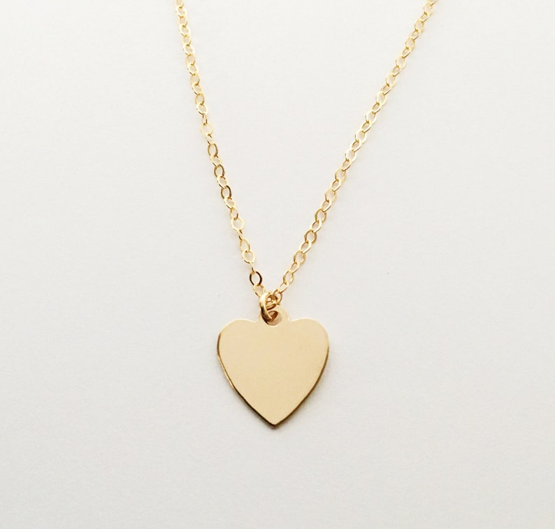 Customized Hand Stamped Heart Charm Necklace image 0