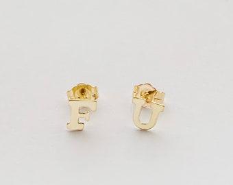 FU Gold Stud Earrings - Block Letter Gold Earring Set, F*CK YOU Stud Earrings