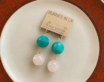 Amazonite & Rose Quartz Drop Earrings