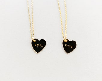VOTE Heart Charm Necklace - Gold