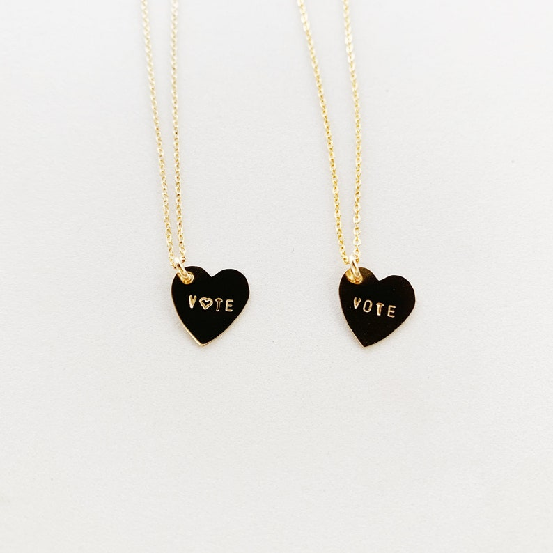 VOTE Heart Charm Necklace  Gold image 0