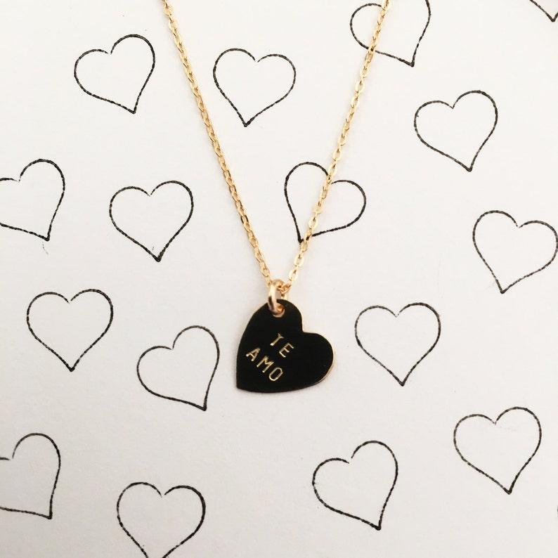 TE AMO Heart Charm Necklace image 0