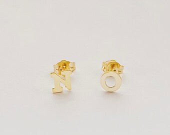 NO Gold Stud Earrings, 14 karat Gold Filled Initials