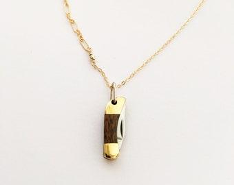Mini Pocketknife Necklace - Woodgrain