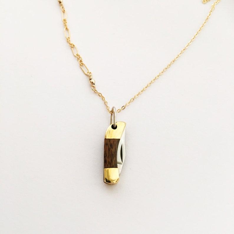 Mini Pocketknife Necklace  Woodgrain image 0