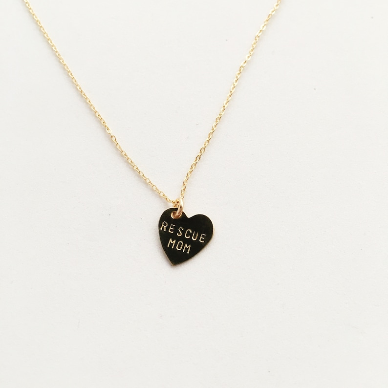 RESCUE MOM Heart Charm Necklace  Mother's Day image 0