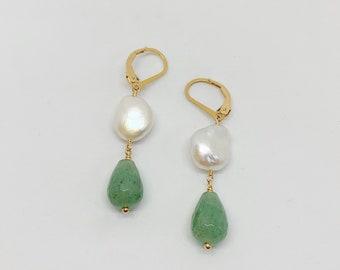 Pearl & Aventurine Drop Earrings